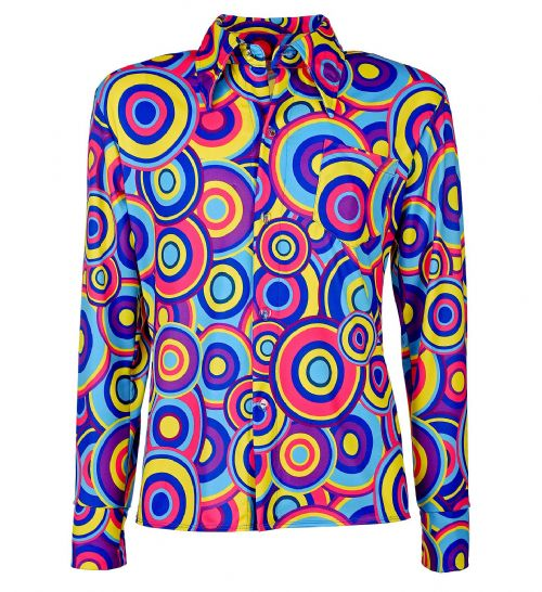 70s Man Shirt - Blue Bubbles Top 70s Fancy Dress